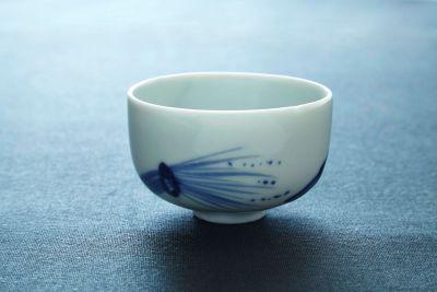 古伊万里焼 染付稲藁と鶴図輪茶碗